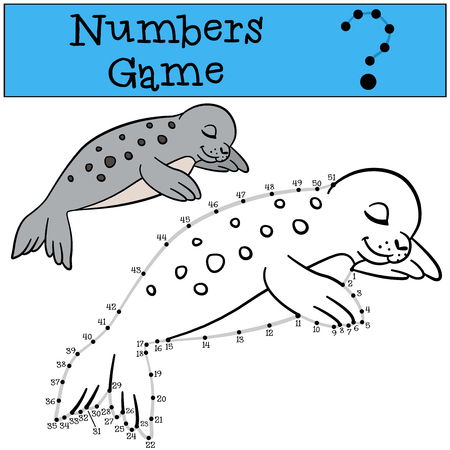 baby seal: Educational game: Numbers game with contour. Little cute spotted baby seal sleeps and smiles.