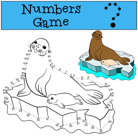 baby seal: Educational game: Numbers game with contour. Mother fur seal with her little cute white-coated baby seal on the ice floe.