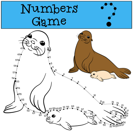 fur seal: Educational game: Numbers game with contour. Mother fur seal with her little cute white-coated baby. Illustration