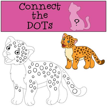 jaguar: Educational game: Connect the dots. Little cute baby jaguar smiles.