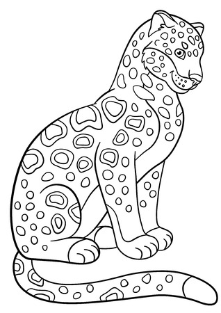 jaguar: Coloring pages. Cute spotted jaguar sits and smiles. Illustration