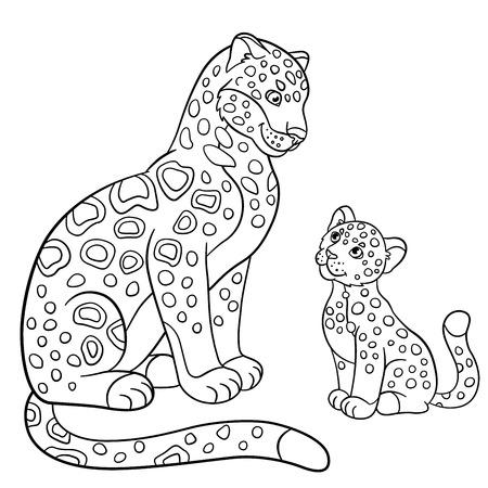 Páginas Para Colorear. Poco Jaguar Lindo Del Bebé Se Acuesta En La ...