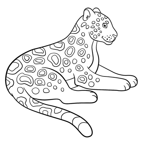 lays: Coloring pages. Cute jaguar lays and smiles. Illustration