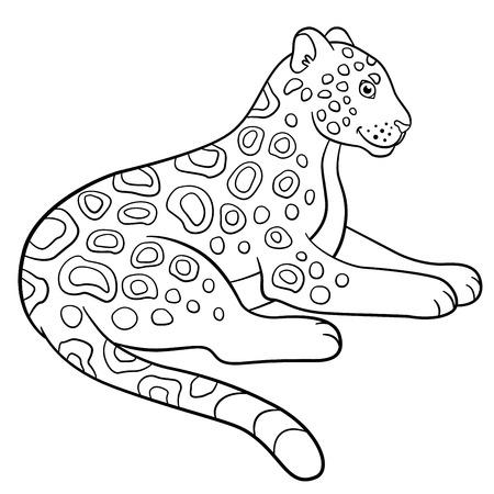 jaguar: Coloring pages. Cute jaguar lays and smiles. Illustration