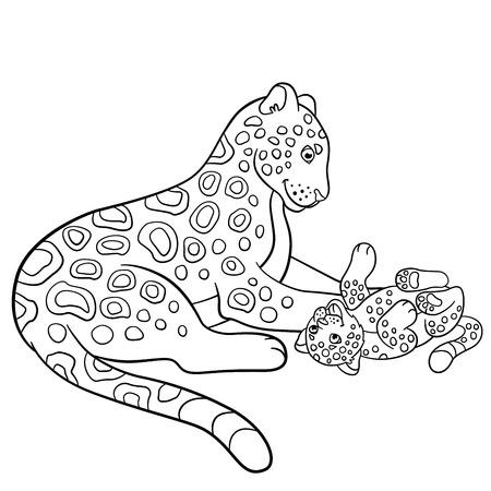 jaguar: Coloring pages. Mother jaguar with her little cute cub. Illustration