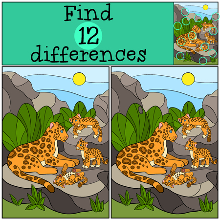 jaguar: Educational game: Find differences. Mother jaguar with her little cute cubs on the stones. Illustration