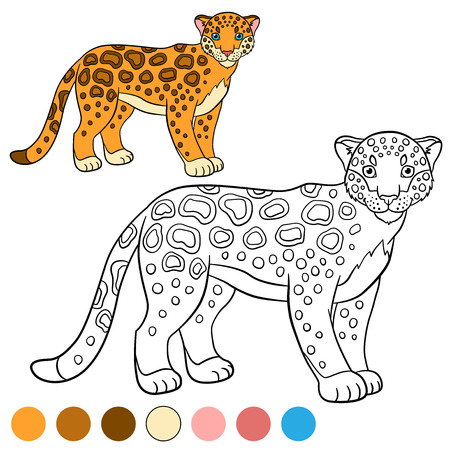 Coloring Page With Colors. Cute Spotted Jaguar Stands And Smiles ...