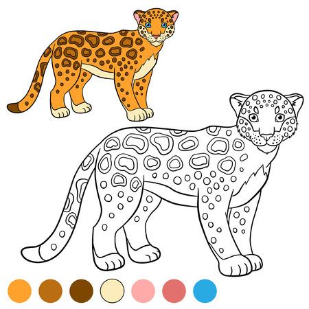 Dibujo Para Colorear Con Los Colores. Jaguar Lindo Se Sienta Y ...