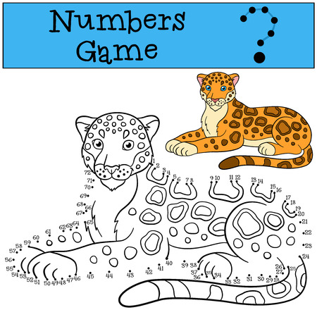 lays: Educational game: Numbers game. Cute spotted jaguar lays and smiles. Illustration