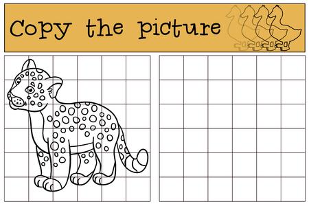 jaguar: Educational game: Copy the picture. Little cute baby jaguar smiles.