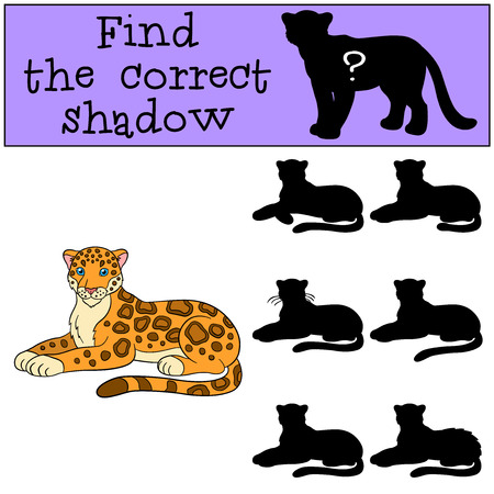 Educational game: Find the correct shadow. Cute jaguar lays and smiles.