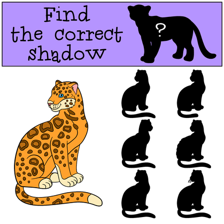 jaguar: Educational game: Find the correct shadow. Cute jaguar sits and smiles.