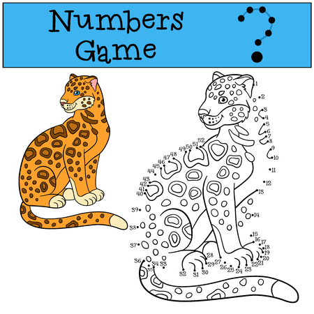 sits: Educational game: Numbers game. Cute spotted jaguar sits and smiles. Illustration
