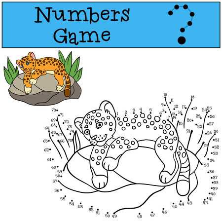 little rock: Educational game: Numbers game. Little cute baby jaguar lays on the rock and smiles. Illustration