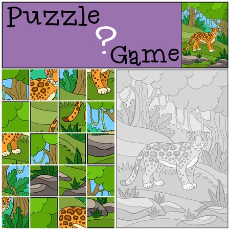 jaguar: Education game: Puzzle. Cute jaguar stands in the forest.