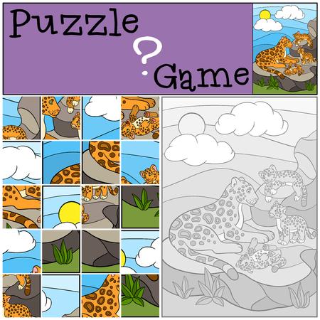 jaguar: Education game: Puzzle. Mother jaguar with her little cute cubs on the stones.