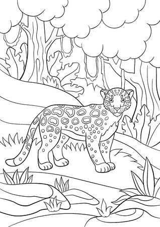 jaguar: Coloring pages. Cute spotted jaguar stands in the forest and smiles.