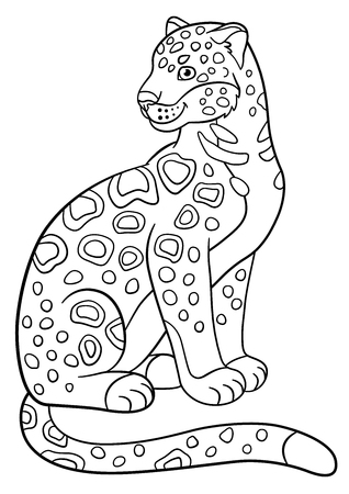 sits: Coloring pages. Cute spotted jaguar sits and smiles. Illustration