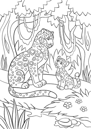 Coloring pages. Mother jaguar with her little cute cub in the forest.