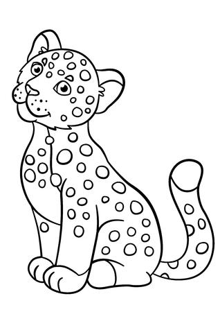 Páginas Para Colorear. Jaguar Lindo Pone Y Sonríe. Ilustraciones ...