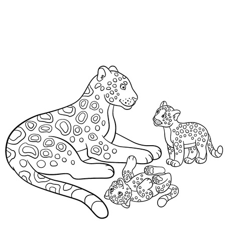 cubs: Coloring pages. Mother jaguar with her little cute cubs.