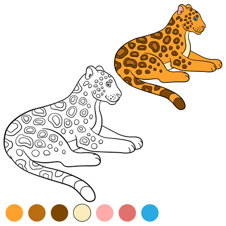 Coloring Page With Colors. Cute Jaguar Lays And Smiles. Royalty Free ...