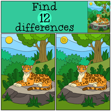spot the difference: Educational game: Find differences. Cute spotted jaguar lays on the stone in the forest and smiles. Illustration