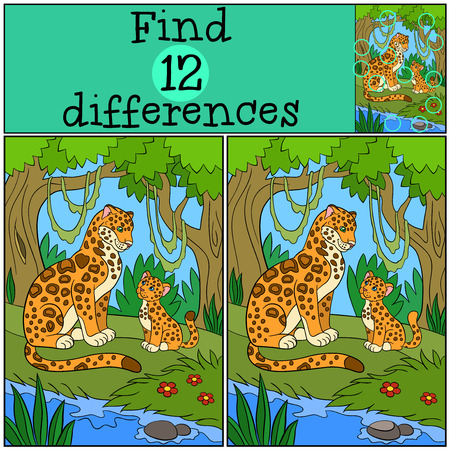 spot the difference: Educational game: Find differences. Mother jaguar with her little cute cub sit on the grass in the forest and smile.