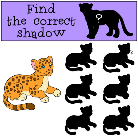 Educational game: Find the correct shadow. Little cute baby jaguar smiles. Illustration