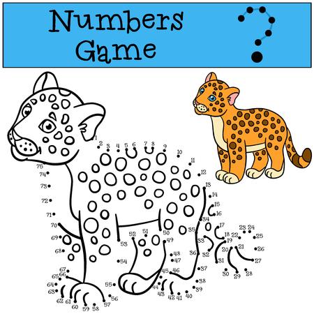 jaguar: Educational game: Numbers game. Little cute baby jaguar smiles.