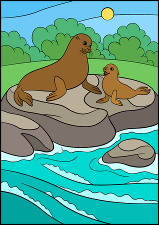 Cartoon animals. Mother fur seal with her little cute baby lay on the rock near the ocean. Illustration