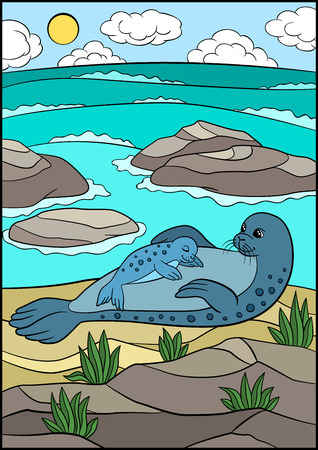 Cartoon animals. Mother fur seal with her sleeping little cute baby on the rock near the ocean.