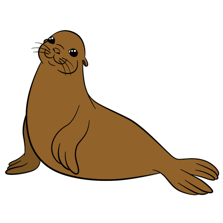 Cartoon animals. Little cute brown fur seal smiles.