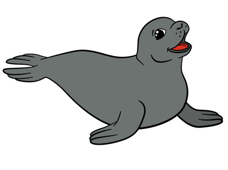 Cartoon animals. Little cute gray seal smiles. 矢量图像