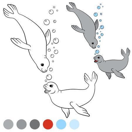 Dibujo Para Colorear Con Los Colores. Dos Pequeños Sellos Lindos ...