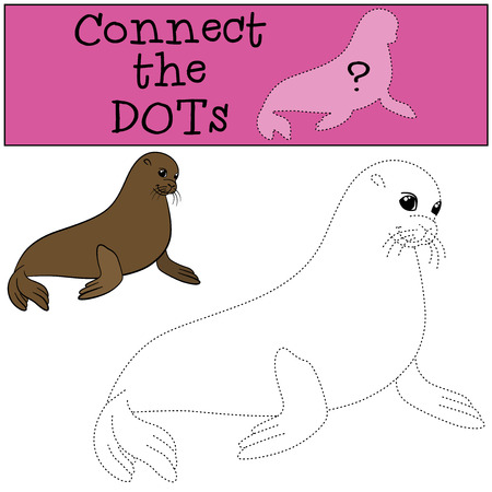 Educational game: Connect the dots. Little cute fur seal smiles.