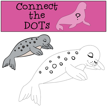 baby seal: Educational game: Connect the dots. Little cute spotted baby seal sleeps. Illustration