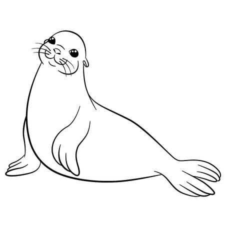 Coloring pages. Little cute fur seal lays and smiles.