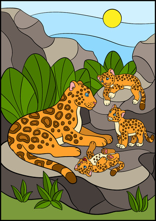 cubs: Cartoon animals for kids. Mother jaguar with her little cute cubs on the stones. Illustration