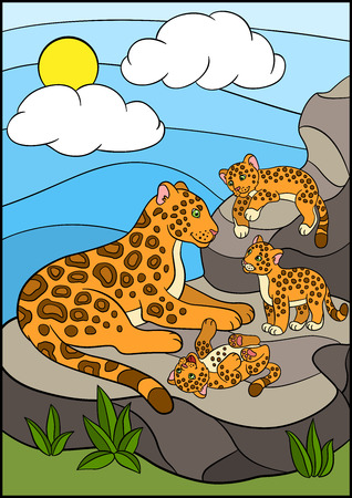 cubs: Cartoon animals for kids. Mother jaguar with her cubs on the stones. Illustration