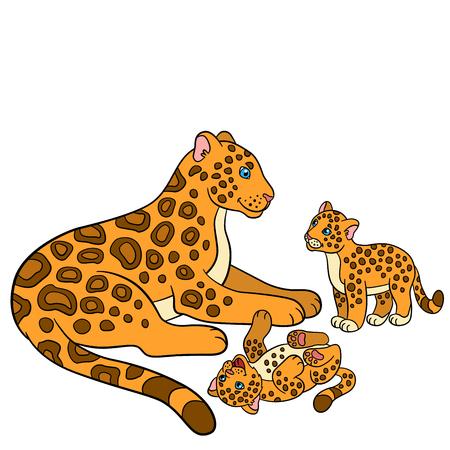 cartoon jaguar: Cartoon animals for kids. Mother jaguar with her little cute cubs. Illustration
