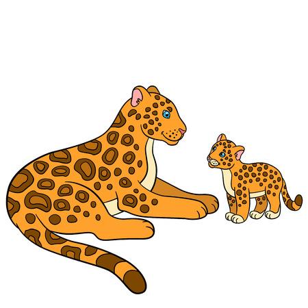 cartoon jaguar: Cartoon animals for kids. Mother jaguar with her little cute cub. Illustration