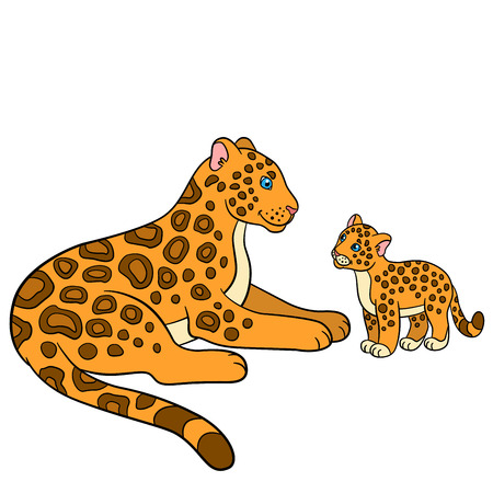 Cartoon animals for kids. Mother jaguar with her little cute cub. Illustration