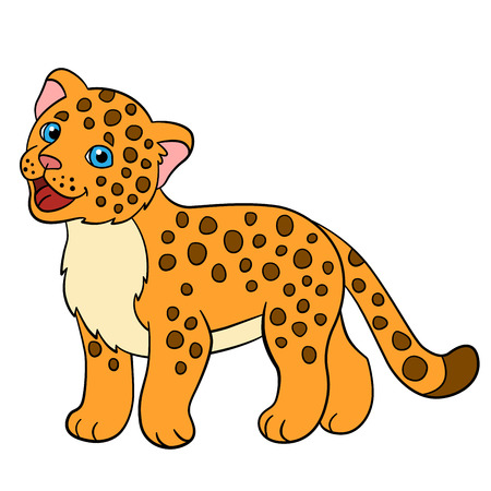 cartoon jaguar: Cartoon animals for kids. Little cute baby jaguar smiles.