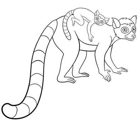 Coloring Pages Little Cute Lemur Holds An Fruit In His Hand