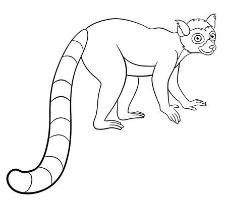 Disegni da colorare. Piccoli stand lemure carino e sorrisi.