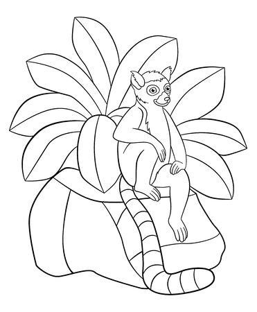 Coloring pages. Little cute lemur sits on the stone and smiles.