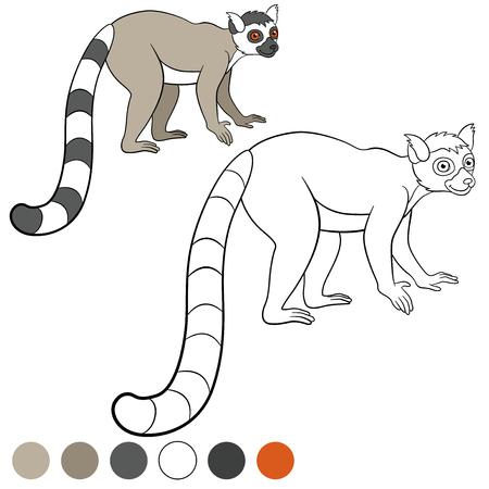 lemur: Color me: lemur. Little cute lemur stands and smiles. Illustration