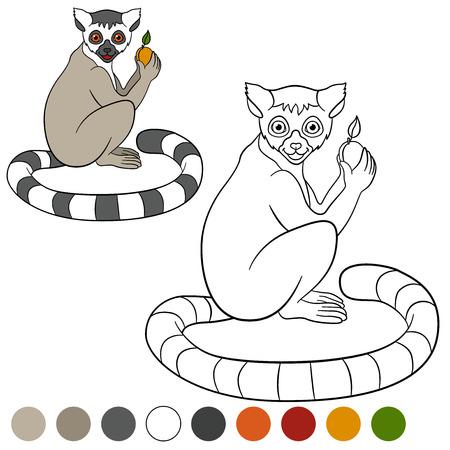 Mi Colore: lemure. Piccolo lemure carino detiene un frutto nelle sue mani e sorrisi.