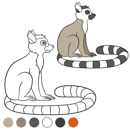 sits: Color me: lemur. Little cute lemur sits and smiles.